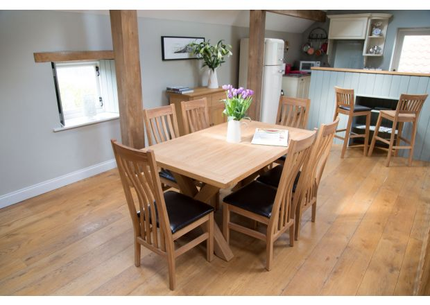 Provence 150cm Oak Dining Table and 6 Winchester Black Leather Chairs - SUMMER SALE