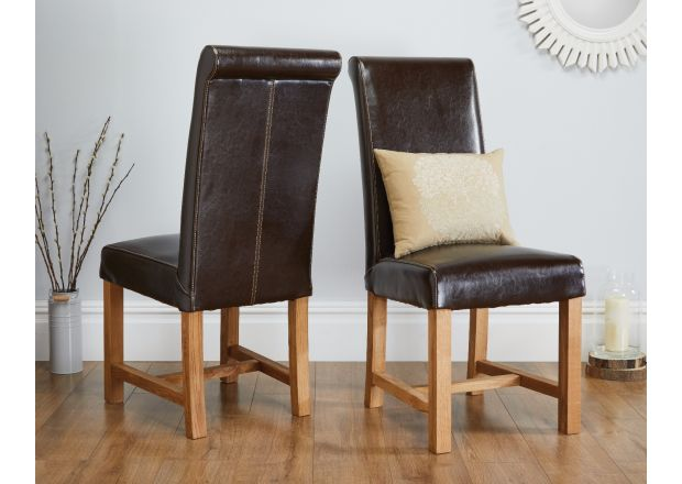 Titan Dark Brown Leather Scroll Back Dining Chairs Oak Legs - SUMMER SALE