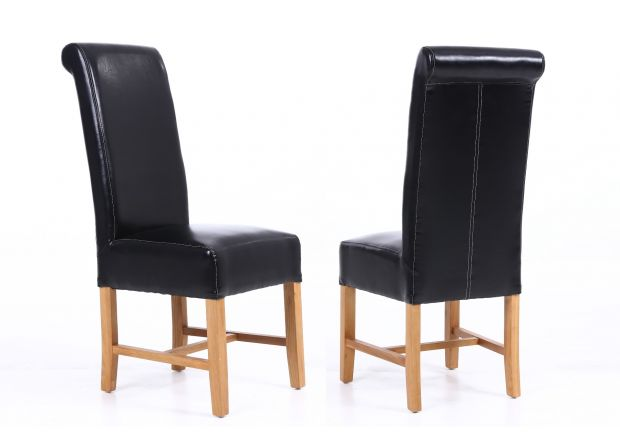 Titan Black Leather Scroll Back Dining Chairs with Oak Legs