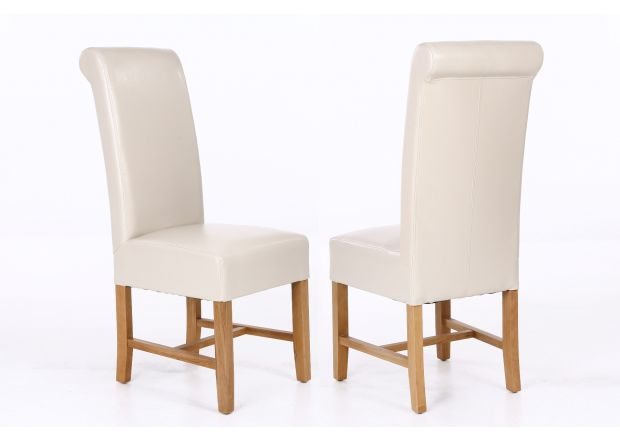 Titan Cream Leather Dining Chair - SUMMER SALE