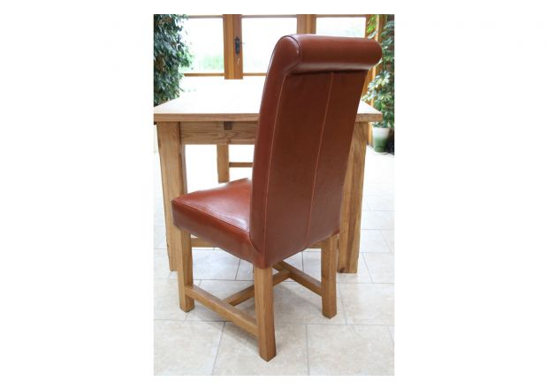 Titan Antique Brown Scroll Back Leather Dining Chairs Oak Legs - SUMMER SALE