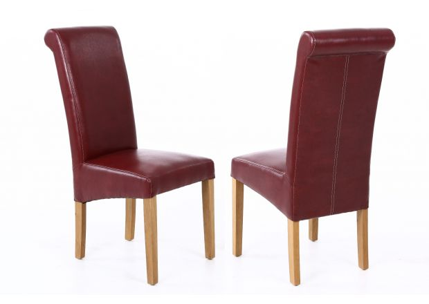 Tuscan Claret Red Leather Scroll Back Dining Chairs Oak Legs - SUMMER SALE