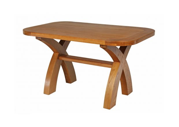 140cm X Leg Country Oak Dining Table Oval Corners