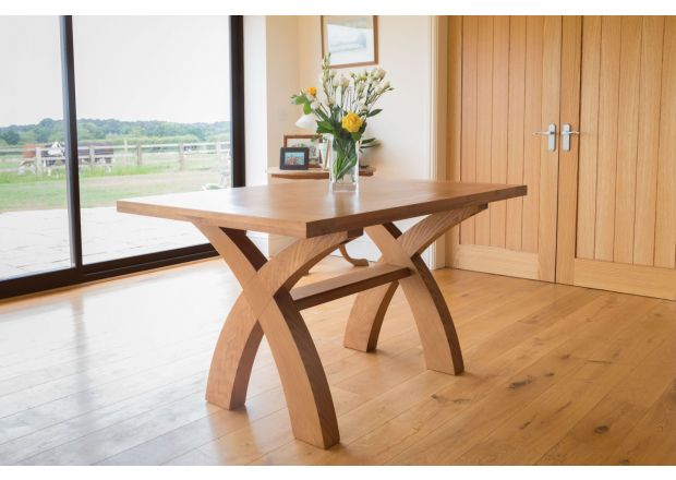 Country Oak 1.4m Cross Leg Dining Table - SUMMER SALE
