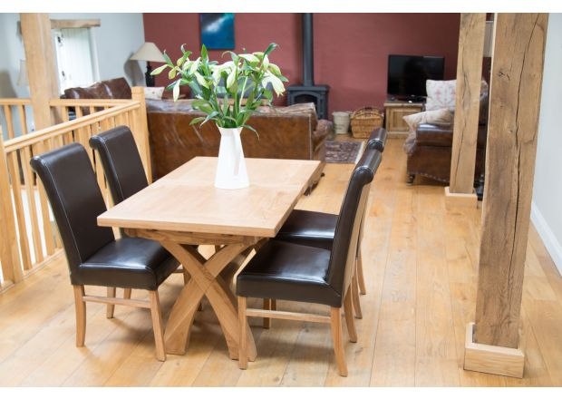 Country Oak 1.3m to 1.8m X Leg Square End Table 4 Emperor Brown Leather Chairs - SUMMER SALE