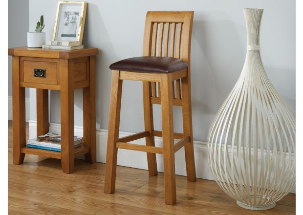Westfield Oak Kitchen Stool with Brown Leather Seat Pad - SUMMER SALE