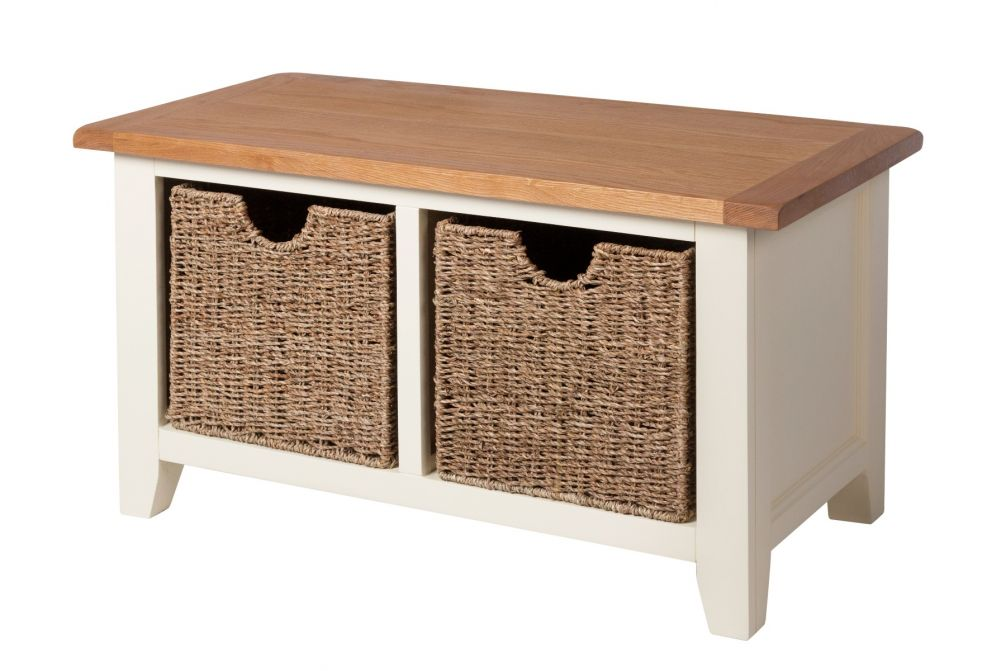 Country Cottage Cream Painted Oak Shoe Storage Bench with 2 Baskets