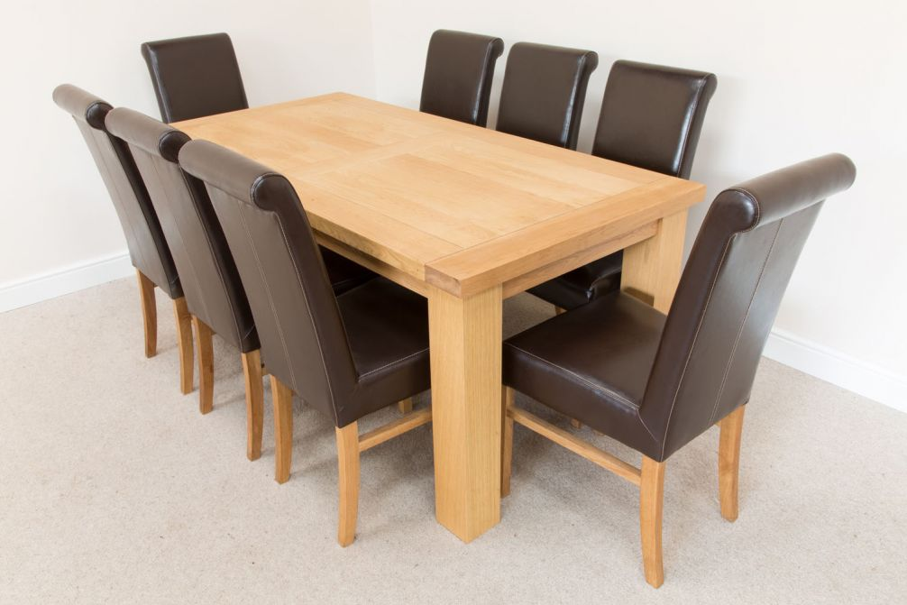 1 8m Riga Oak Dining Table 8 Emperor Brown Leather Dining Chairs