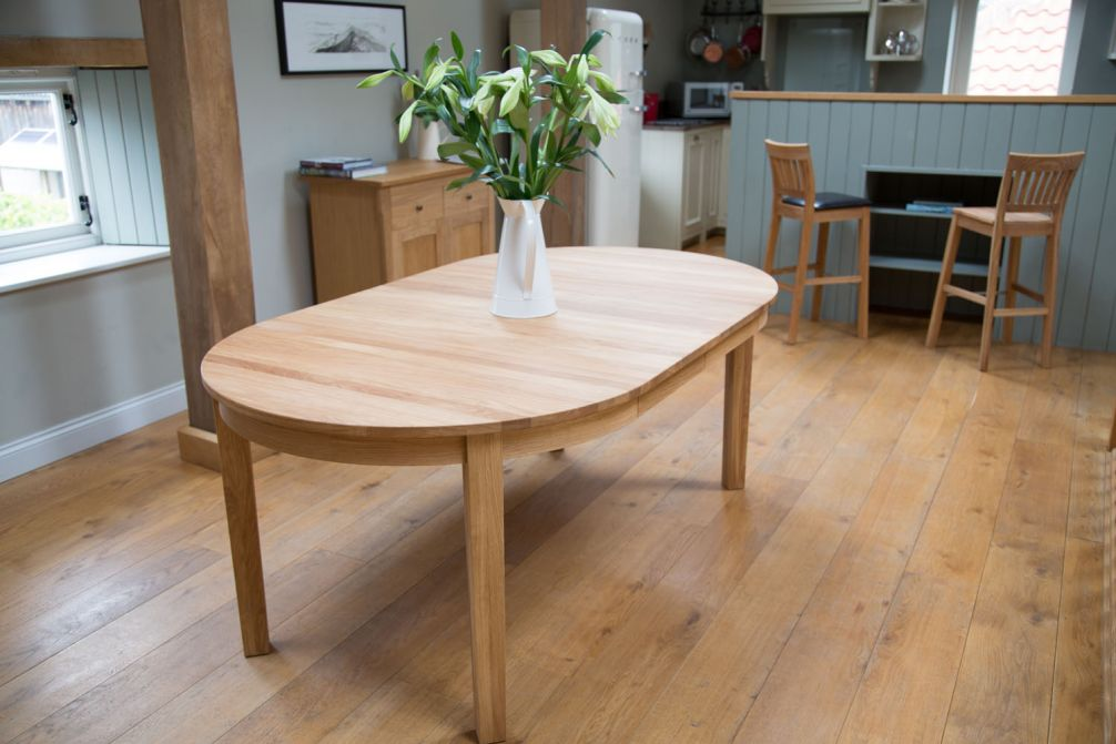 Round Baltic Premium Solid European Oak Double Extending Table