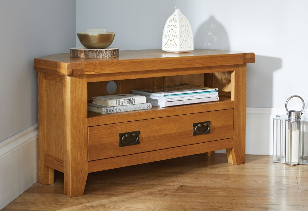 Superieur Country Oak Corner TV Unit With Drawer   SUMMER SALE