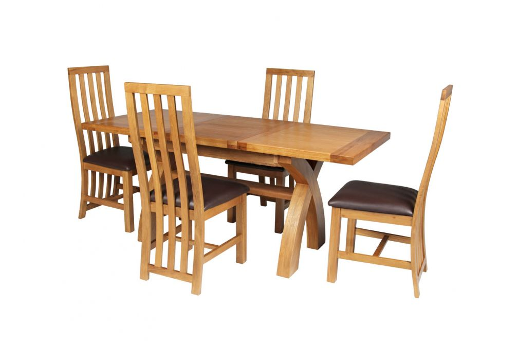 35cf552392 Country Oak 180cm Extending Cross Leg Square Table & 4 Dorchester Brown  Leather Chairs