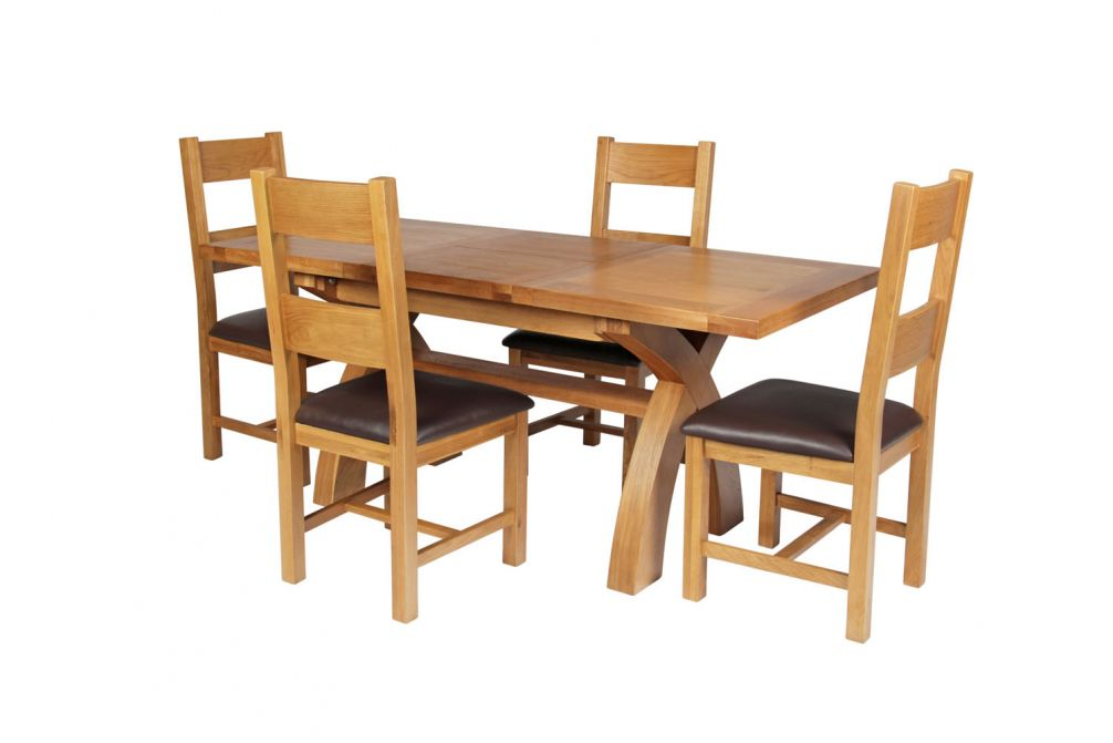 76ab8a154e Previous. Country Oak 180cm Extending Cross Leg Square Table & 4 Chester  Brown Leather Cha