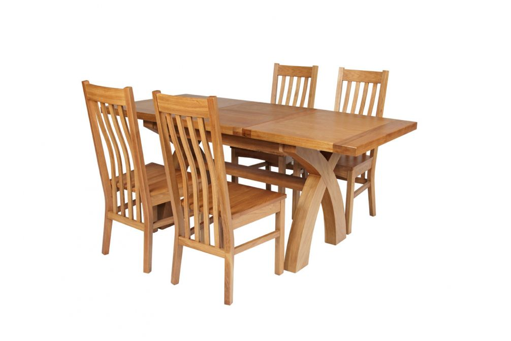 7eb970d775 Previous. Country Oak 180cm Extending Cross Leg Square Table & 4 Chelsea  Timber Seat Chair
