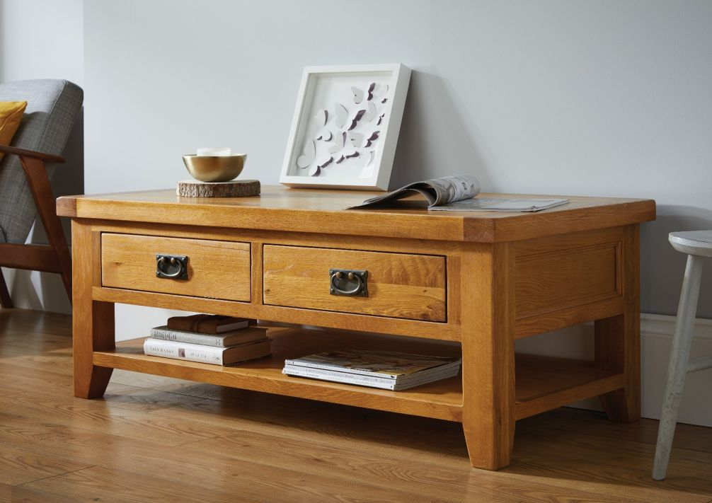 Country Oak Large 4 Drawer Coffee Table With Shelf Free Delivery