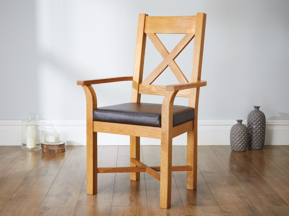 Grasmere Oak Carver Chair With Brown Leather Seat