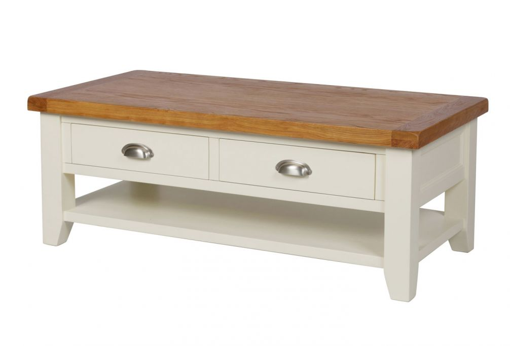 Country Oak Cream Painted Large 4 Drawer Coffee Table With Shelf