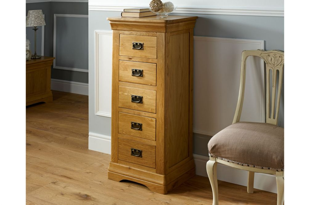 6b07fb084016 Farmhouse Country Oak 5 Drawer Tallboy Narrow Chest of Drawers - SUMMER SALE