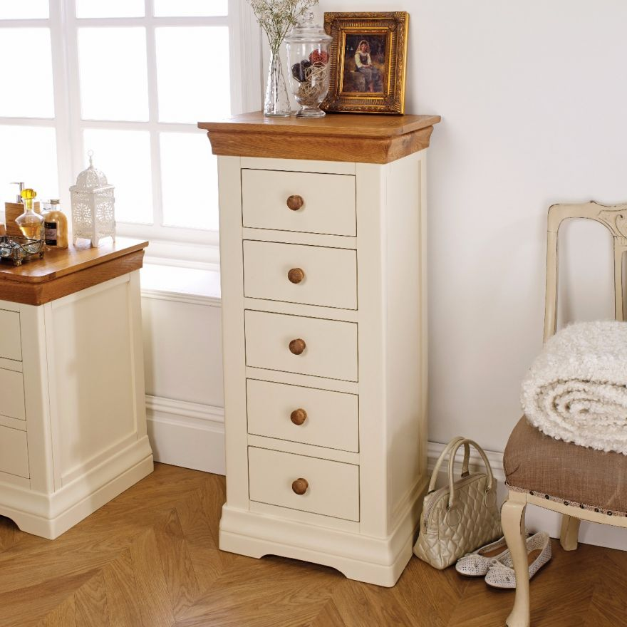 6de6b71be479 Farmhouse Cream Painted 5 Drawer Tallboy Chest of Drawers - Free ...