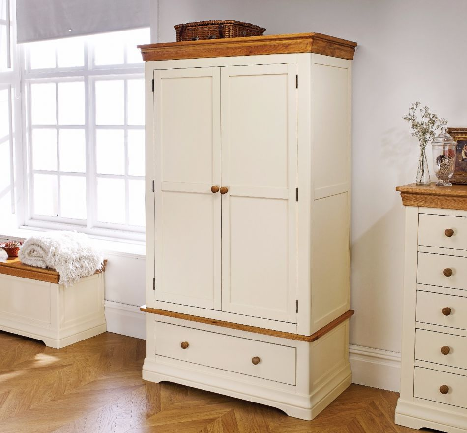 Farmhouse country oak cream painted double wardrobe price crunched