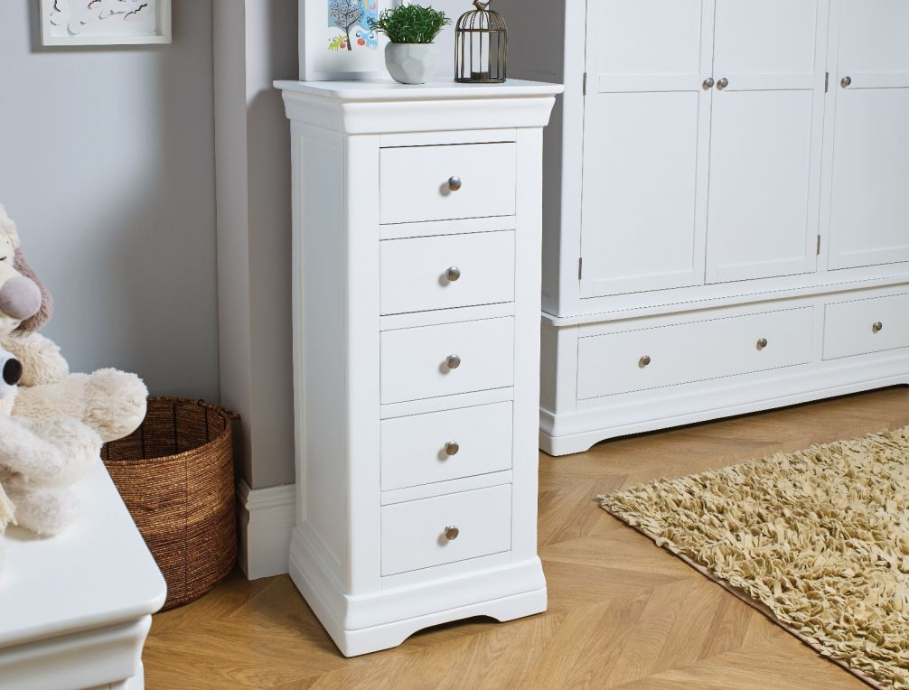 Toulouse White Painted 5 Drawer Wellington Tallboy Chest Free