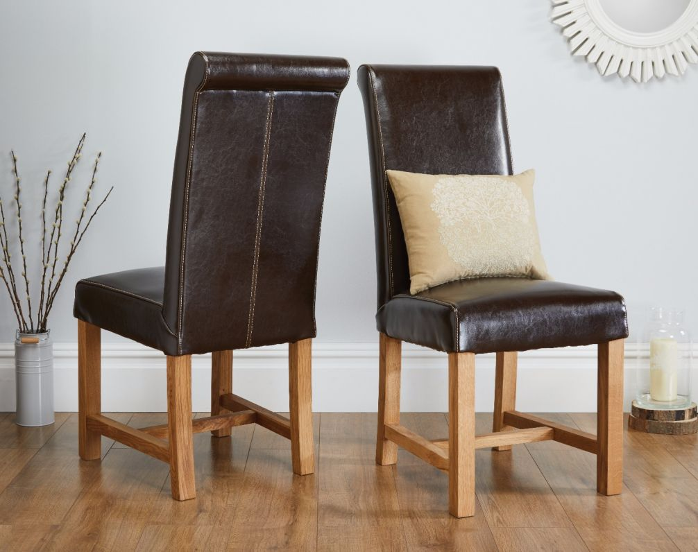 titan chocolate brown premium leather dining chair free delivery rh topfurniture co uk
