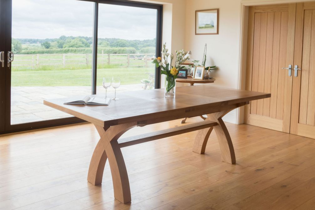 Country Oak 280cm X Leg Double Extending Table Square Ends