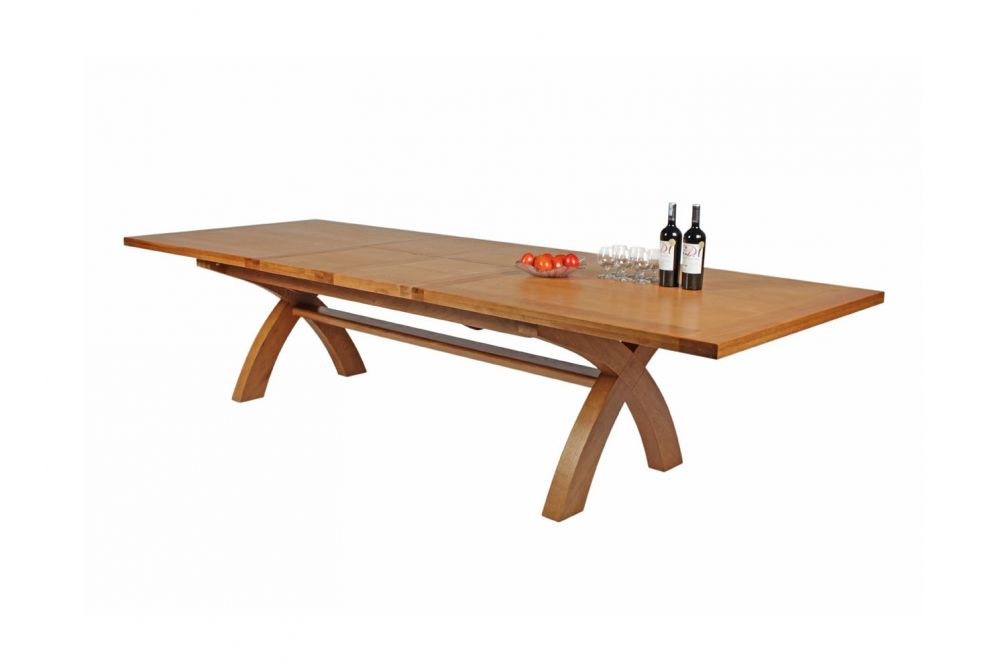 Country Oak 34m Cross Leg Double Extending Large Dining Table