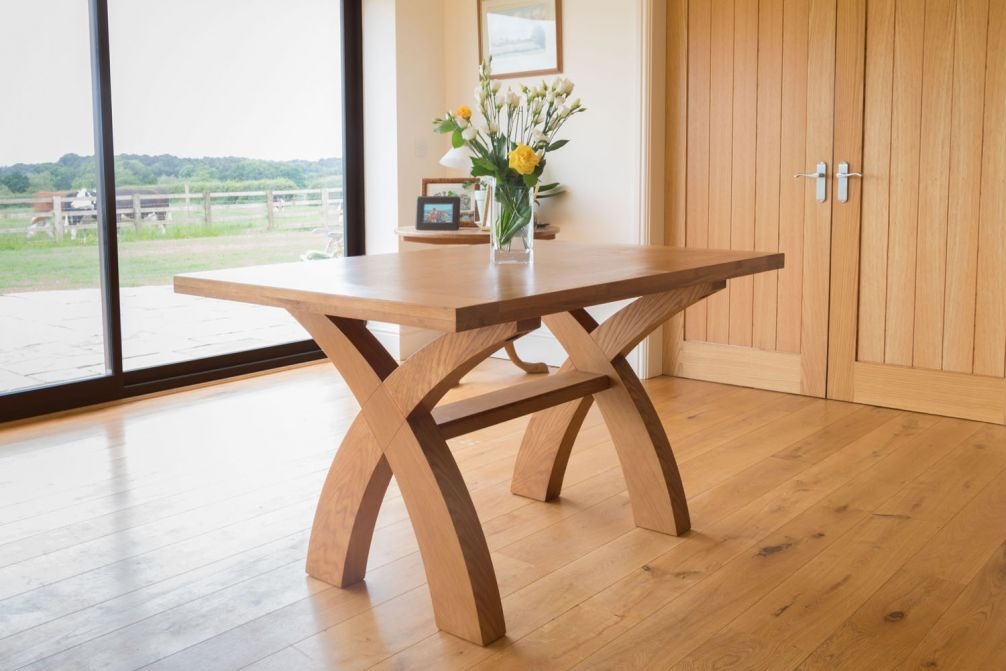 14m country oak cross leg rustic dining table  small