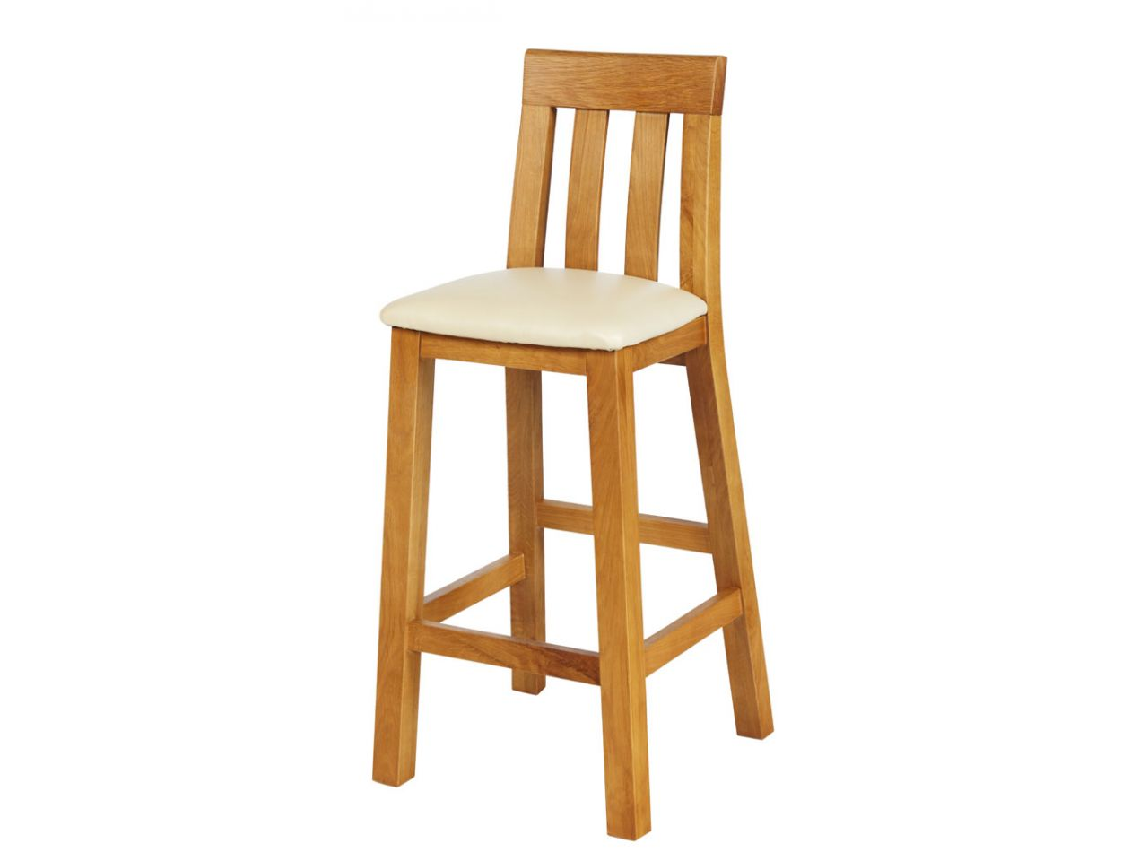 Solid Oak Billy Bar Stool With A Cream Leather Seat Pad