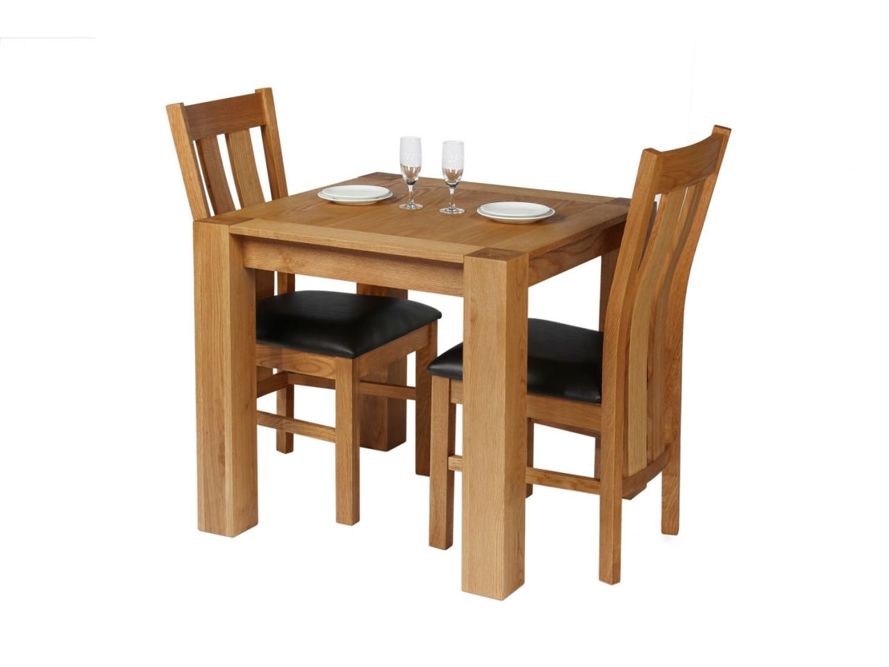 Small 2 Seater Table: Cambridge 2 Seater Oak Table Leather Chair Set