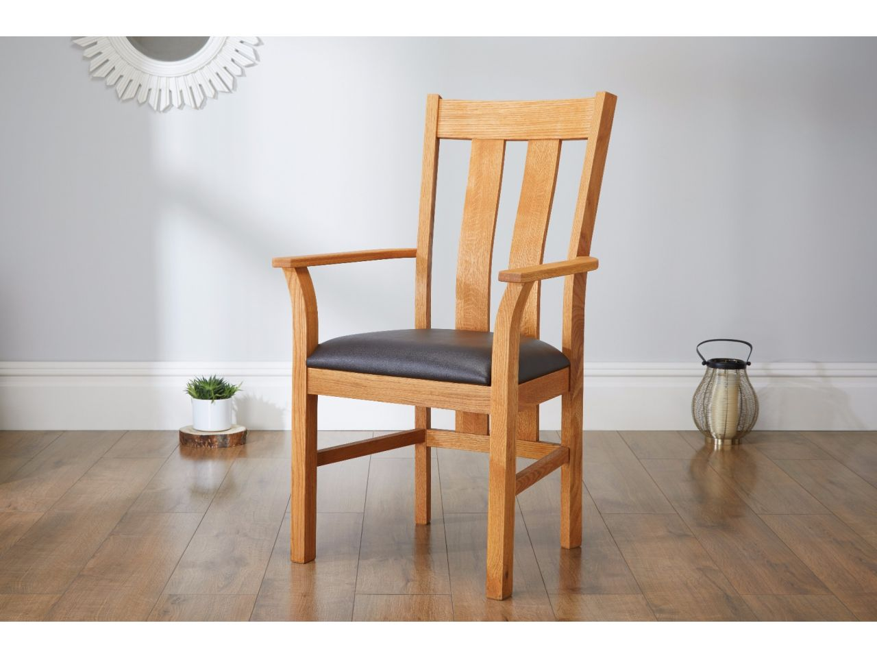 Churchill Carver Oak Dining Chair Brown Leather Free