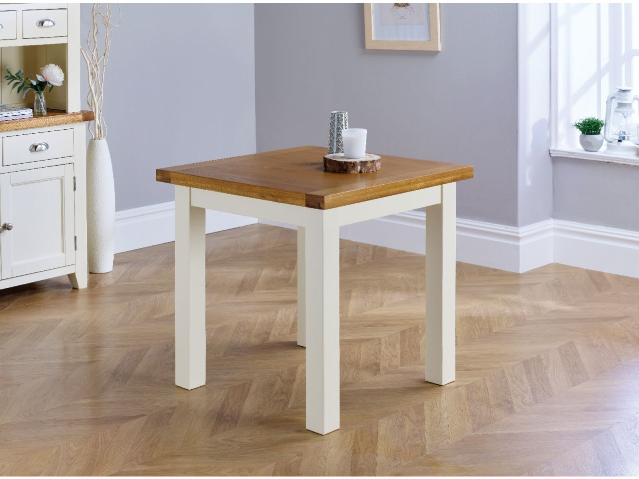small cream painted square oak dining table  free