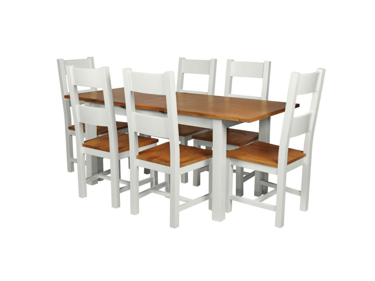 Country Oak 180cm Grey Painted Extending Dining Table U0026 6 Chester Ladder  Back Grey Painted Chairs