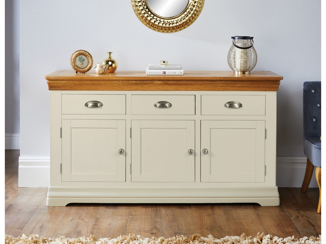 Country Oak Farmhouse 140cm Cream Painted Sideboard Free