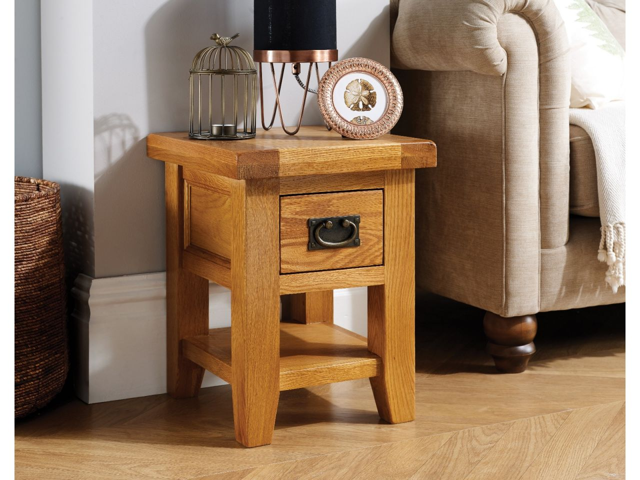 Country Oak Petite Lamp Table With Drawer & Shelf