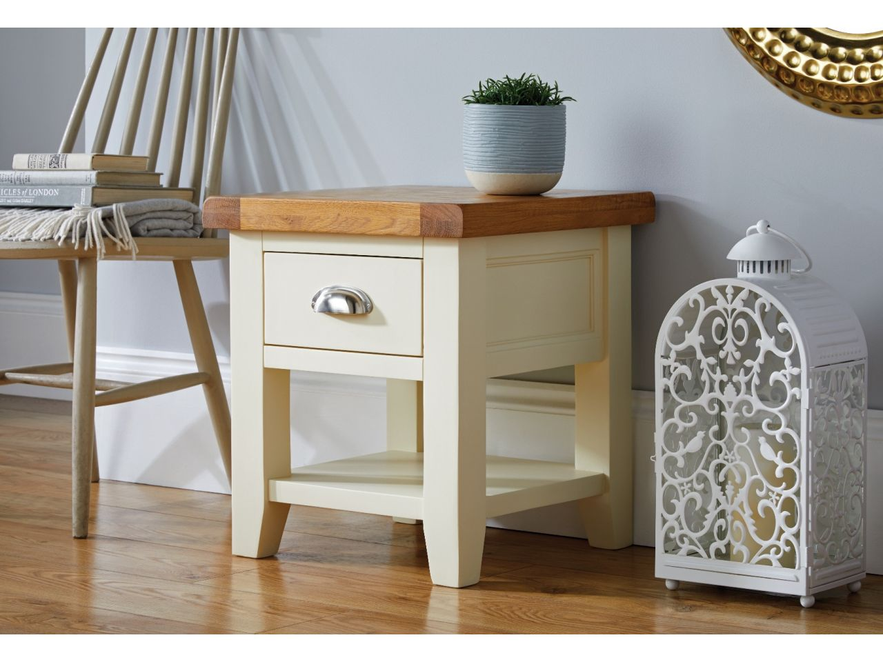 Country Cottage Cream Painted Oak Lamp Table With Drawer