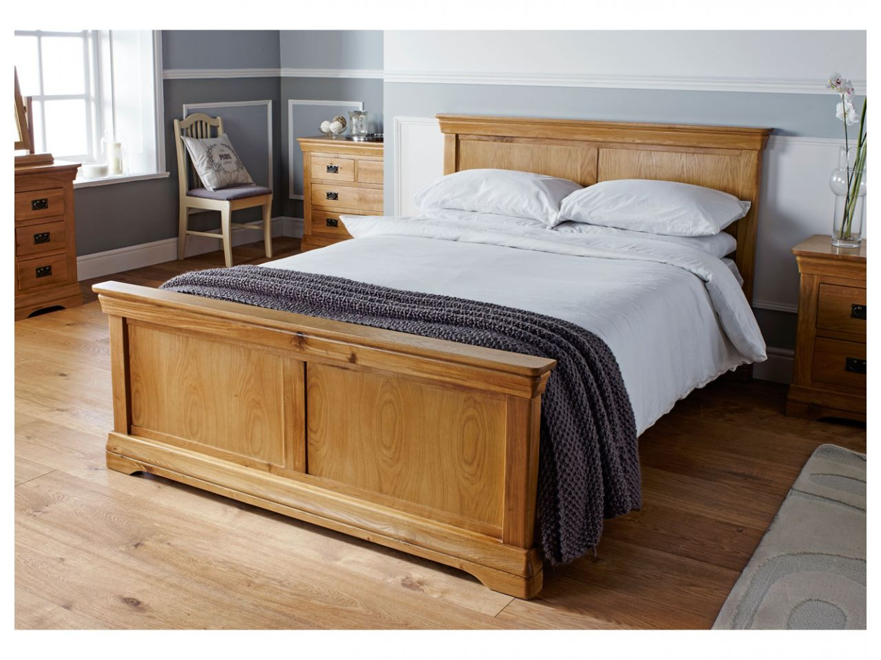 country oak double bed 4 foot 6 inches free delivery. Black Bedroom Furniture Sets. Home Design Ideas