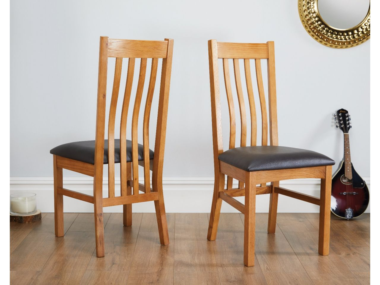 Farmhouse Solid Oak Dining Chair Brown Leather Seat Pad