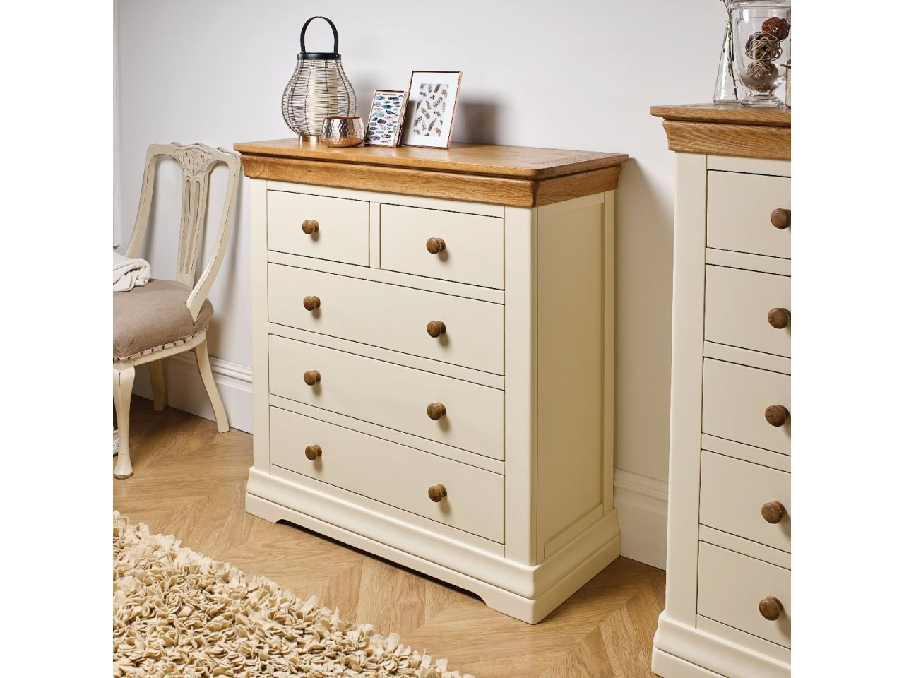 Farmhouse Cream Painted 2 Over 3 Chest Of Drawers Free