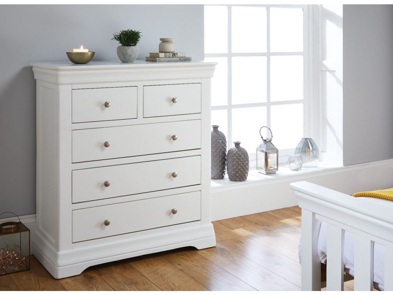 Toulouse White Painted 2 Over 3 Chest Of Drawers Free