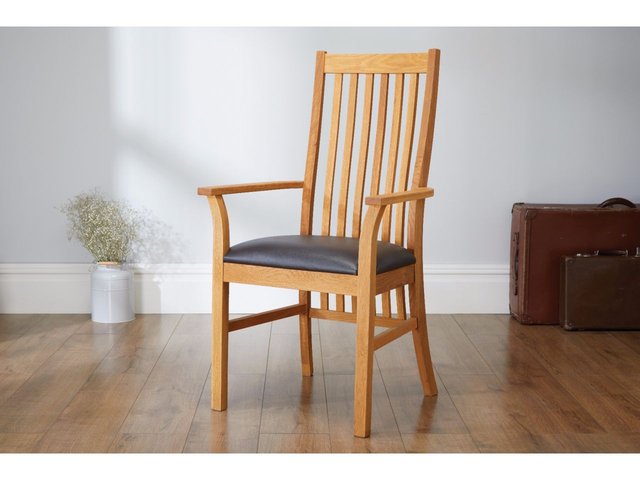 Lichfield Solid Oak Brown Leather Carver Dining Chair