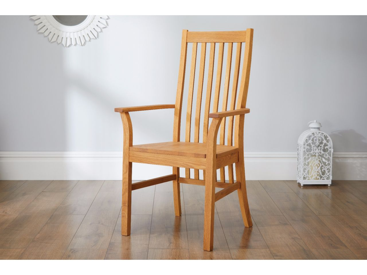 Lichfield Solid Oak Carver Dining Chair With Arms