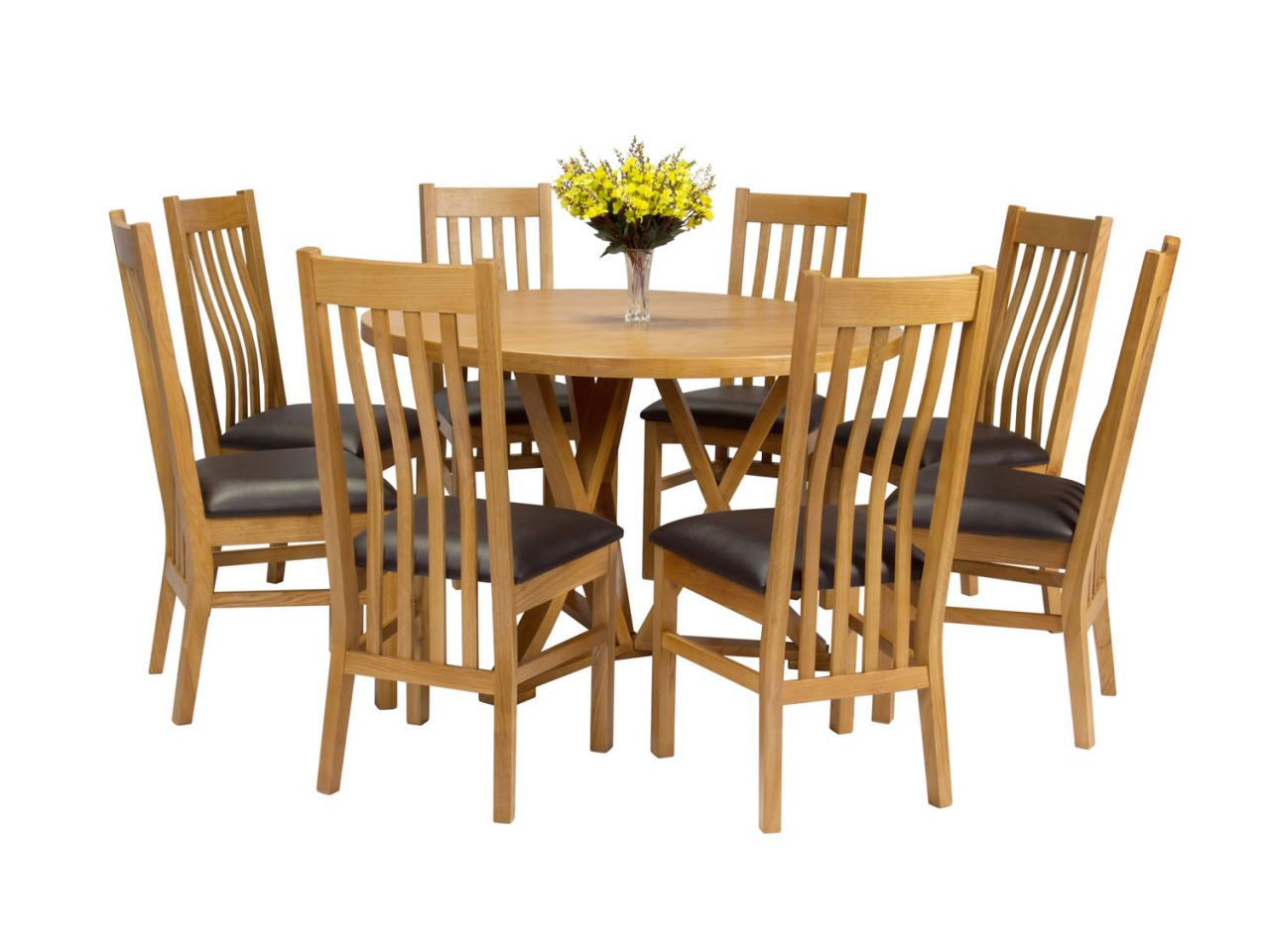 8 Chair Round Dining Table: Country Oak 120cm Round Dining Table 8 Chelsea Brown