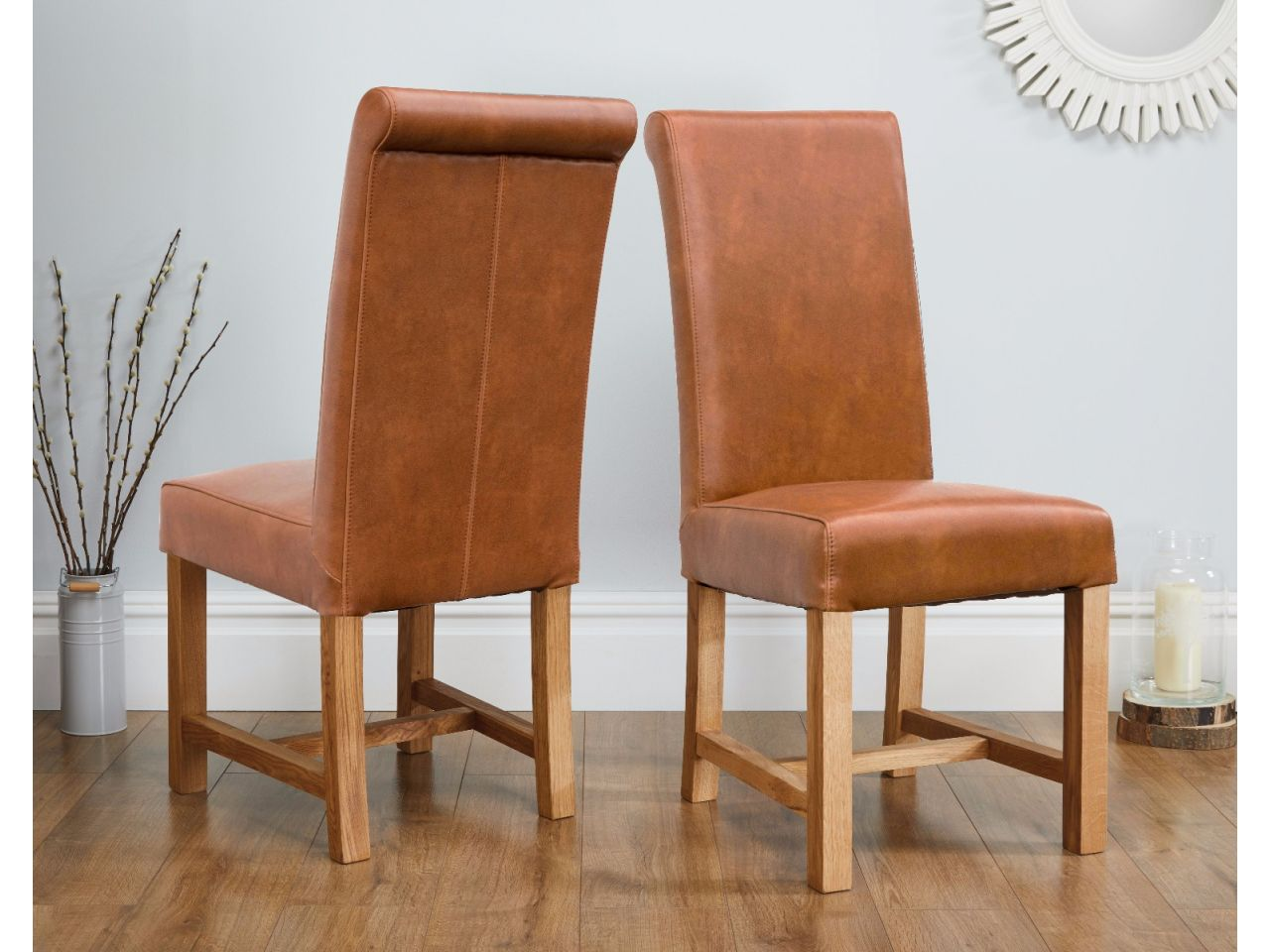 Titan Tan Brown Full Leather Dining Chair Free Delivery