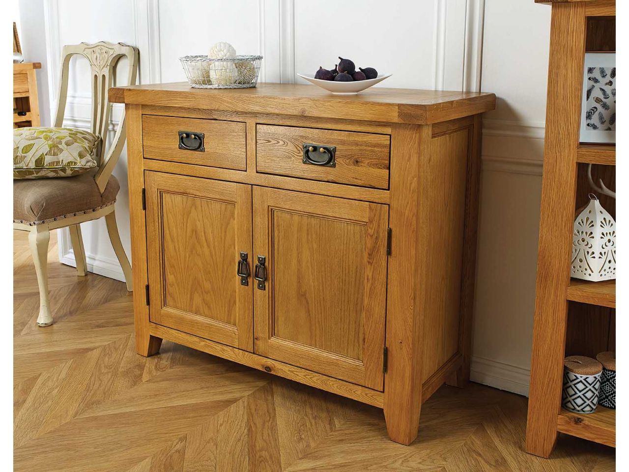 100cm Small Country Oak Sideboard - Free Delivery