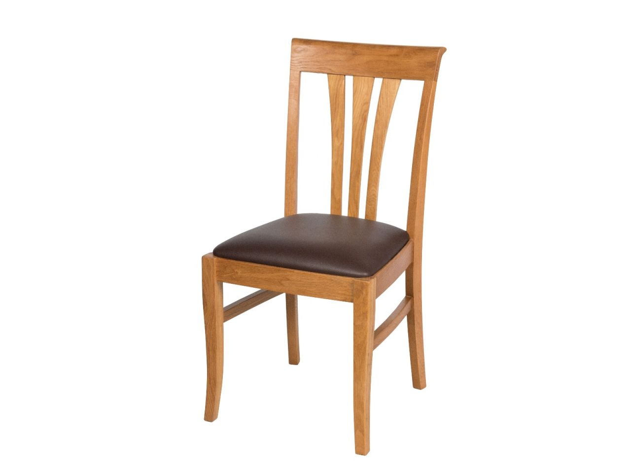 Victoria Solid Oak Dining Chairs Brown Leather Top