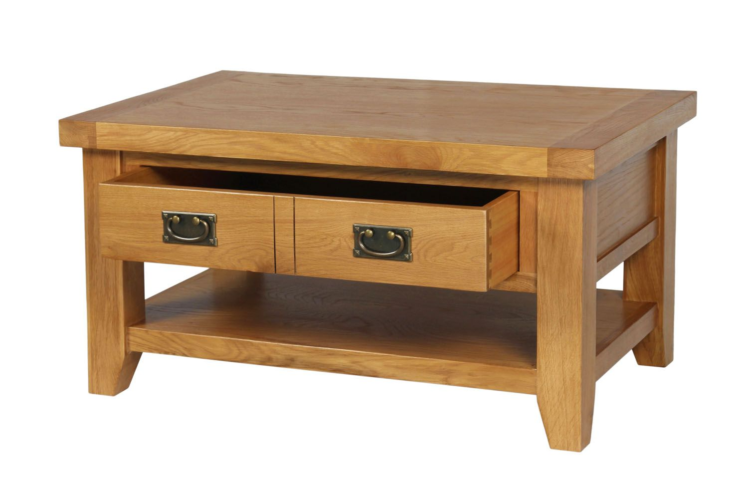 Country Oak Coffee Table With Drawer Shelf Free Delivery Top - Oak coffee table with drawers and shelf
