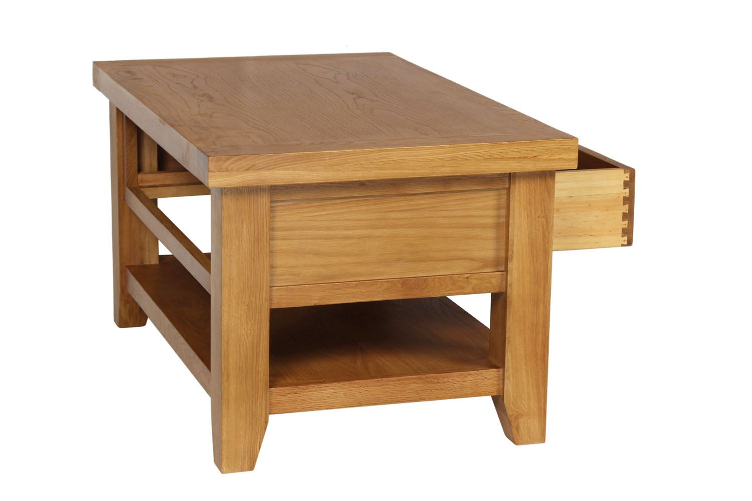 Country Oak Coffee Table With Drawer Shelf Free Delivery Top - Coffee table with drawers and shelf