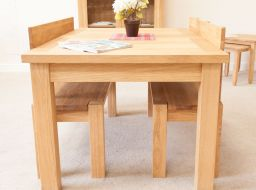 Baltic 120cm Solid Oak Bench with Back