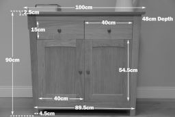 Baltic 100cm Wide Small Oak Sideboard